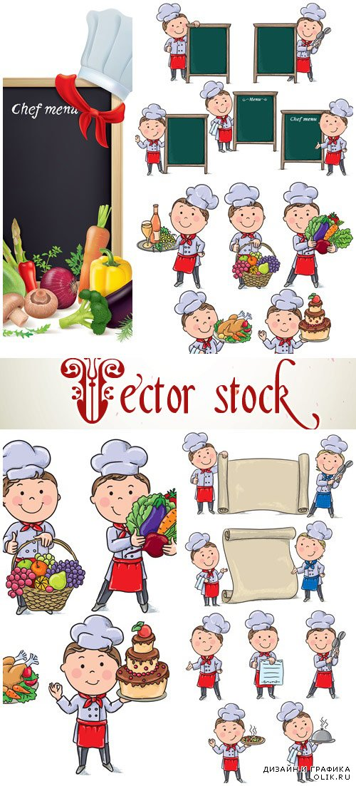 Chefs children with menu board - vector stock