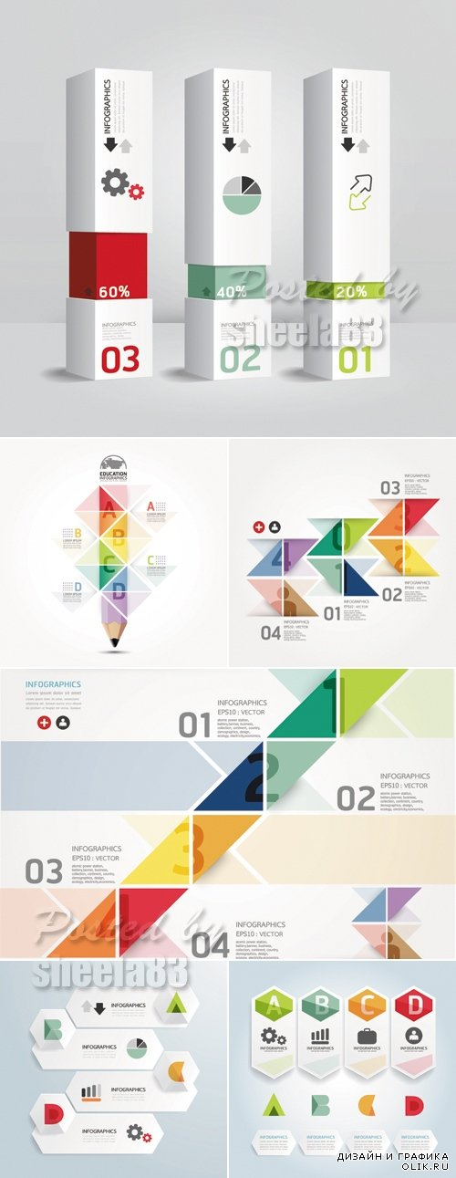 Modern Infographic Templates Vector 2