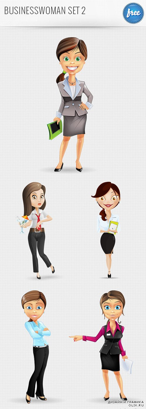 Businesswoman Characters Set 2 - PSD Layered
