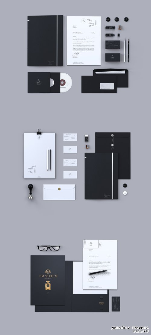 3 Creative Branding Stationery Mock Up Templates PSD