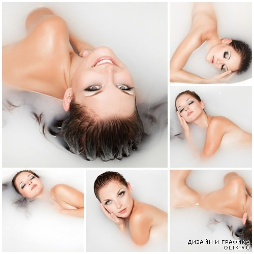 Woman in the bath, 5 - stock photo