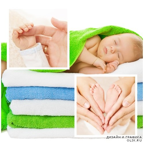Small baby and mother hands, 9 - stock photo