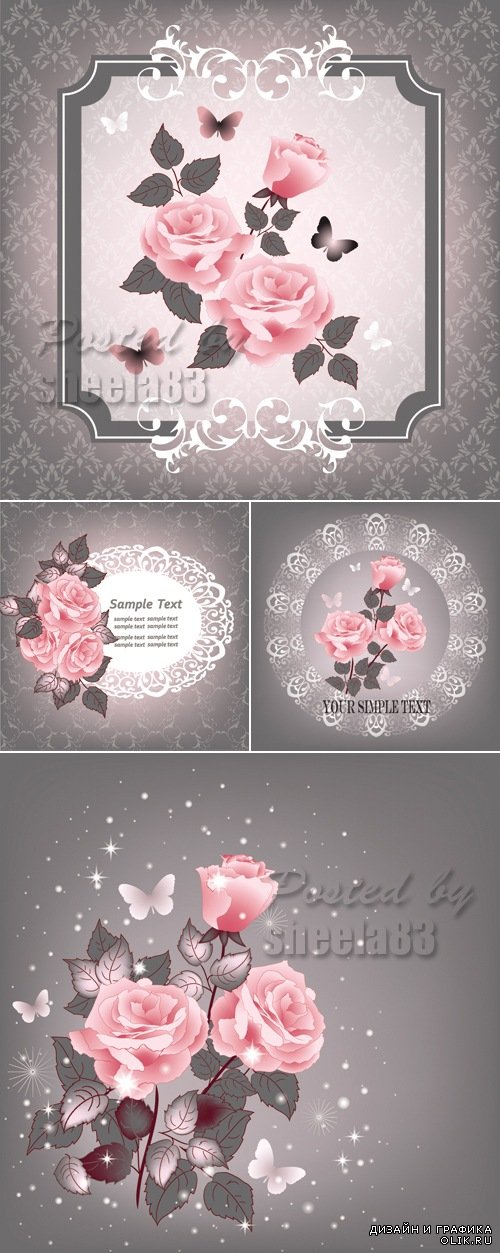 Pink Roses Greeting Cards Vector