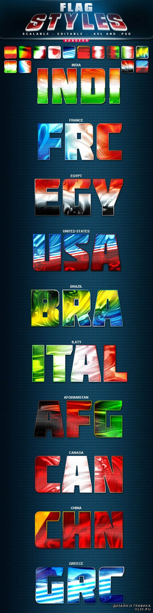 Flag Styles for Photoshop
