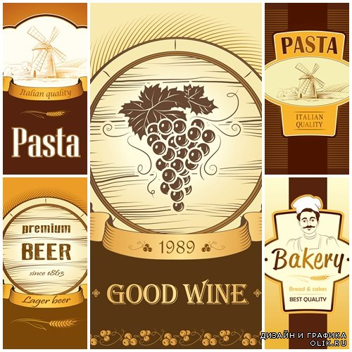 Bakery and wine labels, pack for spaghetti, pasta - vector stock
