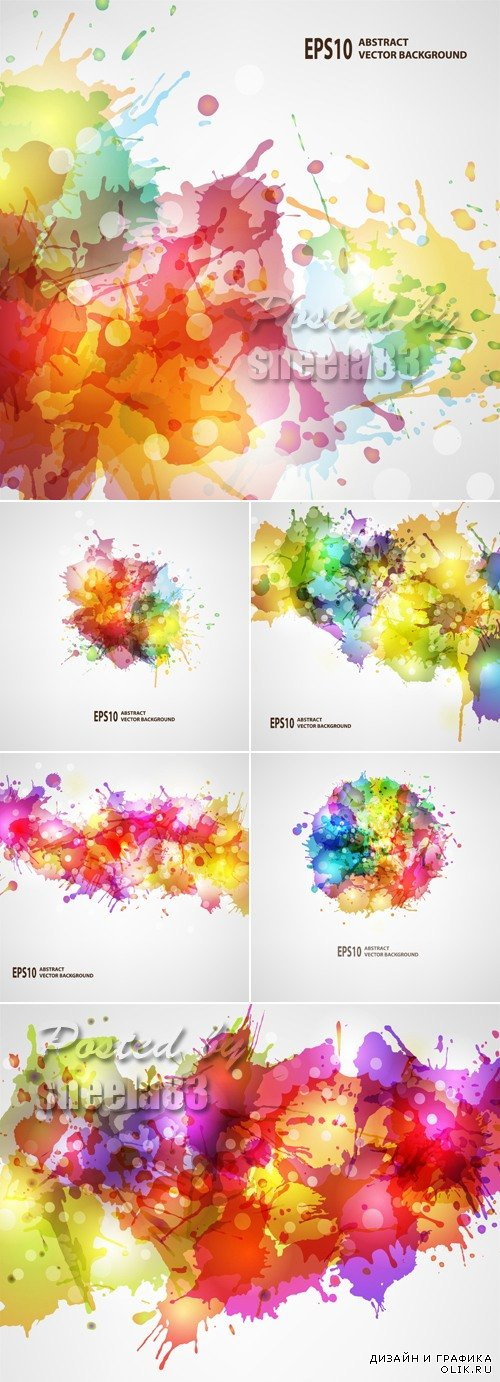 Watercolor Blots Backgrounds Vector