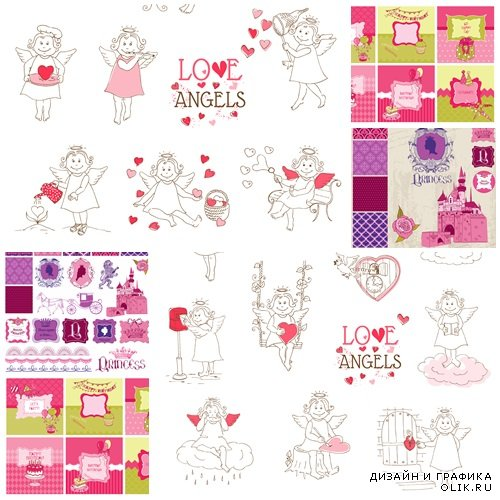 Vector angels and holiday elements - vector stock
