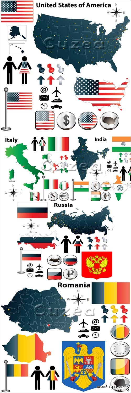Vector - Flags different countries 3