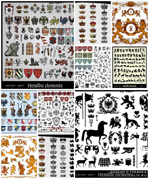 Heraldic and crown - vector stock