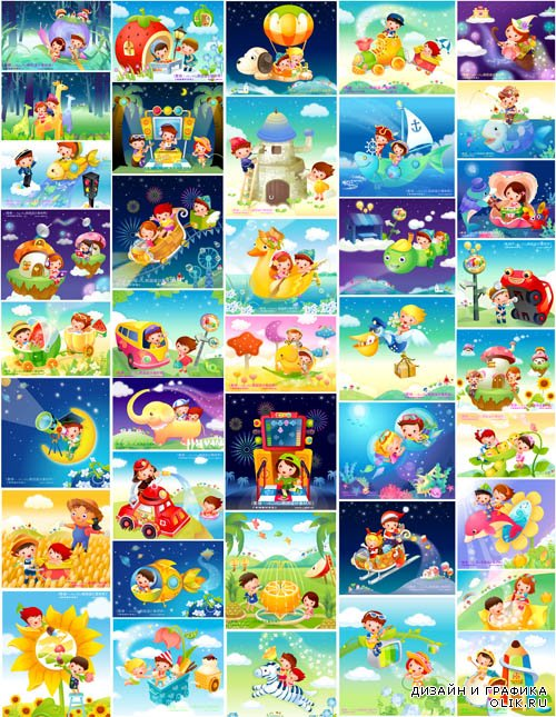 Kids Stories Vector Illustrations