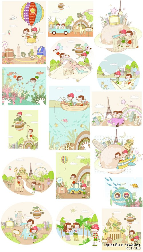 Cartoon Travel Vector illustrations Set