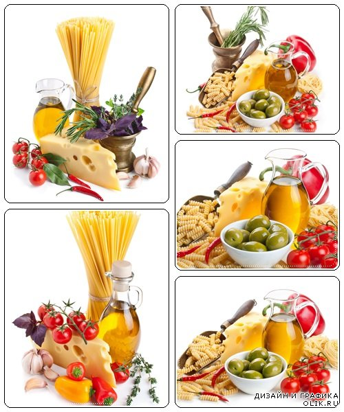Pasta ingredients with cheese, isolated on white - stock photo