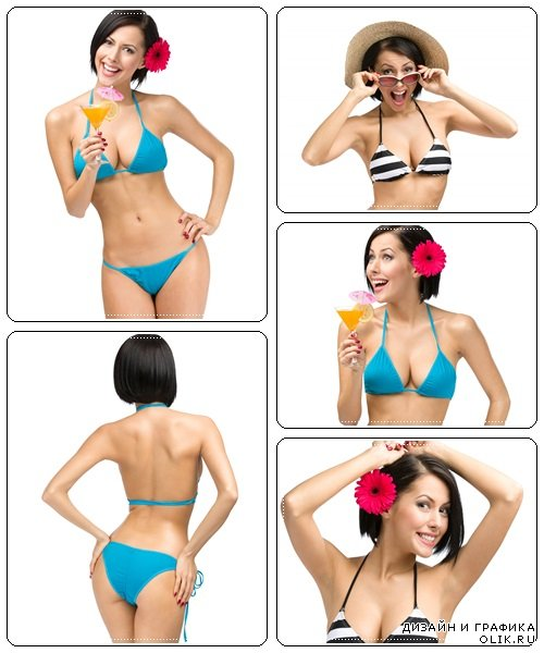 Female wearing bikini and flower in hair - stock photo