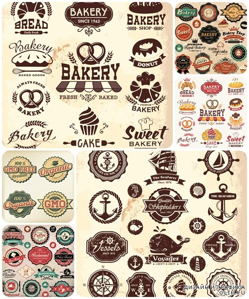 Collection of vintage retro nautical and food labels, badges and icons  - vector stock
