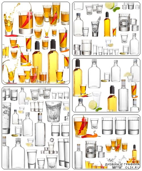Collage of alcohol drinks - stock photo