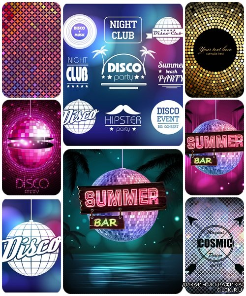 Disco labels and backgrounds  - vector stock