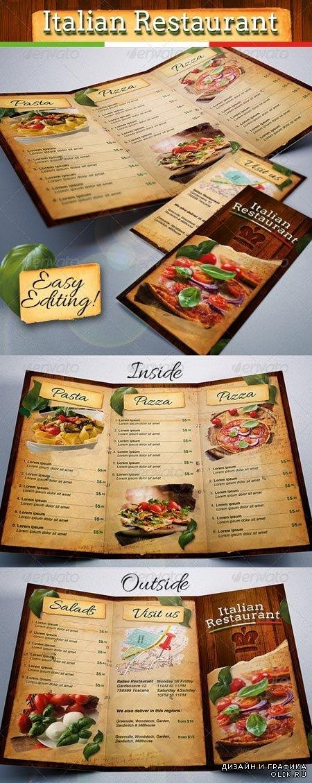 PSD - Italian Restaurant Food Menu Template Tri-Fold