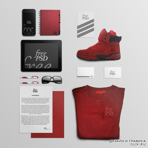 Red Creative Stationery Mock-up Template PSD