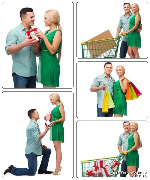 Smiling couple with gift box - stock photo