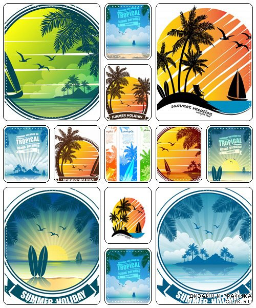 Tropical beach Sunset, Sunrise with Palm Trees in summer  - vector stock