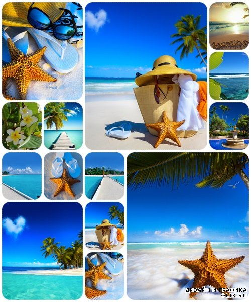 Art Straw hat, bag, sun glasses and flip flops on a tropical beach - stock photo