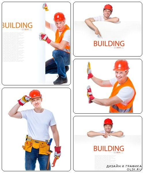 Man constructor with white banner - stock photo