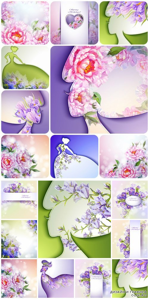 Spring backgrounds, 5  - vector stock