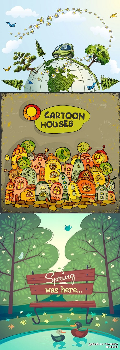 Vector - Cartoon nature house spring