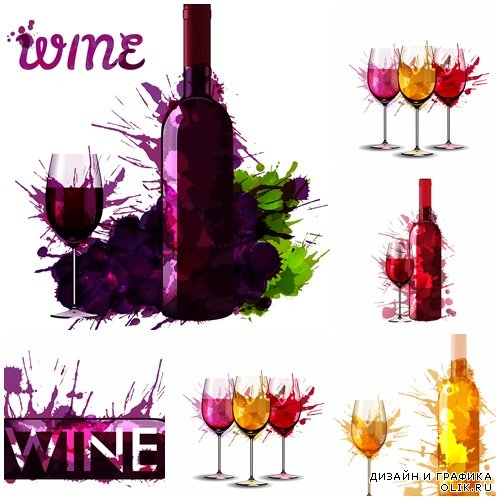 Wine bottles and glasses - vector stock