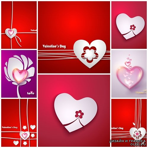 Vector collection for Valentines Day, 14 February, part 32