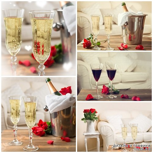 Valentines Day Champagne - stock photo