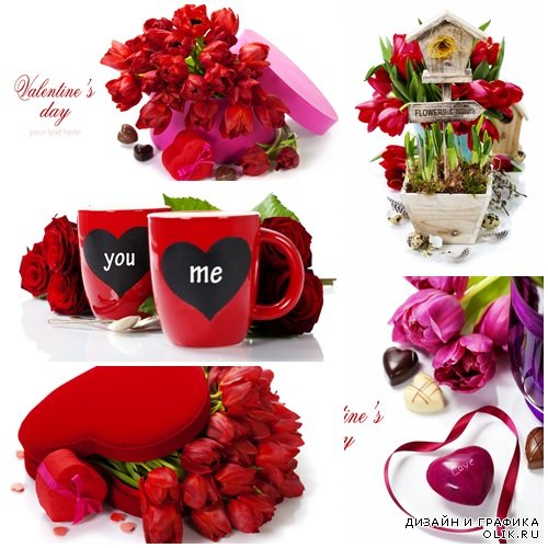 Backgrounds for Valentines day with red roses, tulips and hearts - stock photo