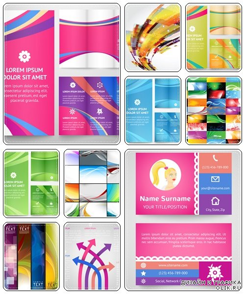 Business brochure and business card, part 34 - vector stock