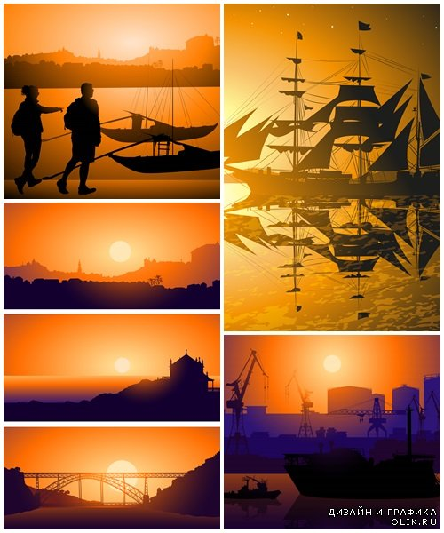 Tourists against Boats on Douro river  - vector stock