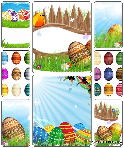 Eggs on meadow with flowers  - vector stock