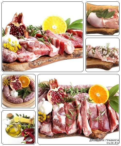 Fresh meat  and sausage with orange and pomegranate - Stock Photo