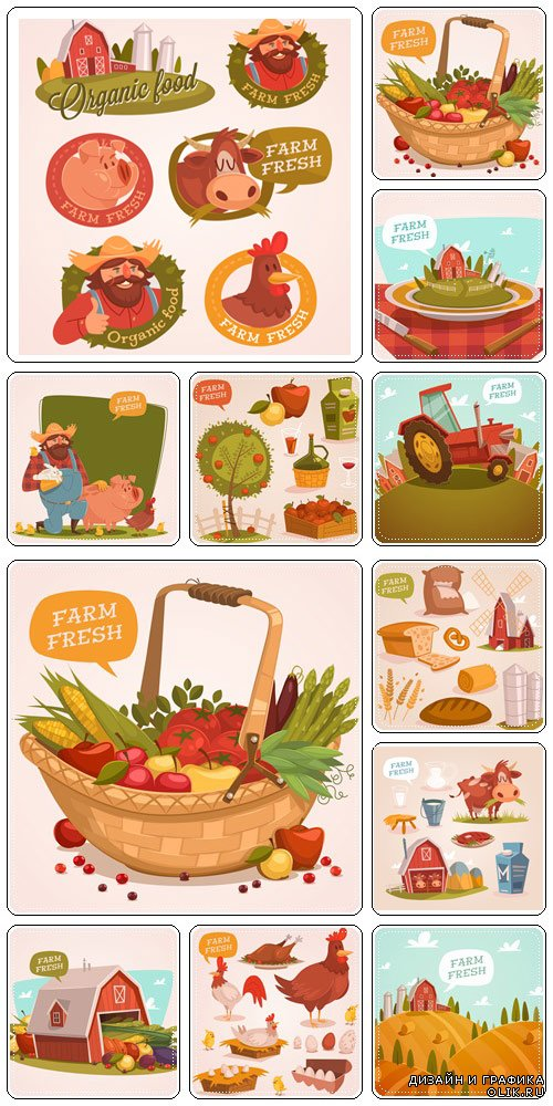Farm fresh. Organic food. Retro style vector illustration  - vector stock