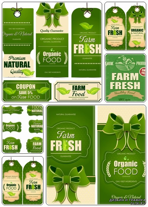 Farm fresh collection with labels  - vector stock