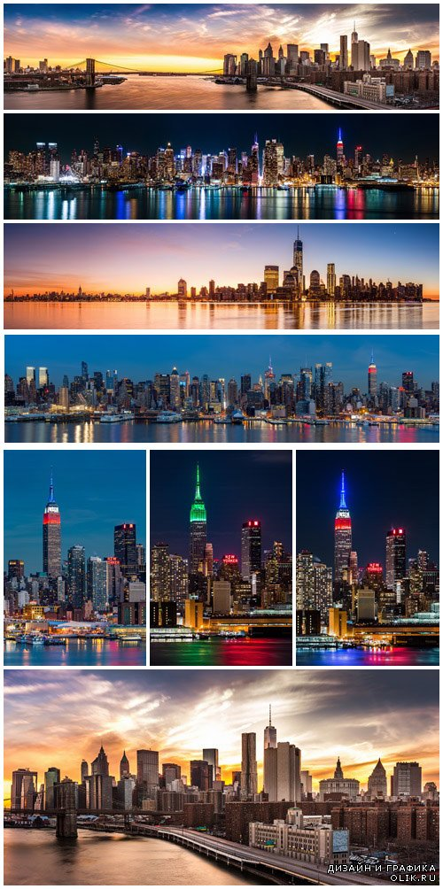 New York Skyline at sunset - Stock Photo