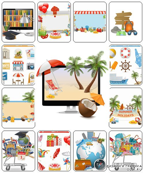 Holiday and travel elements and icons - vector stock