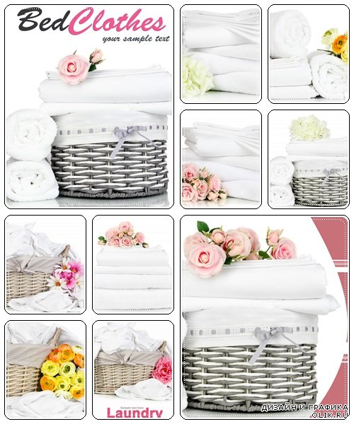 Bedding sheets and towels with flowers - Stock Photo