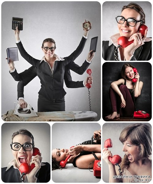 Angry woman at the phone - Stock Photo