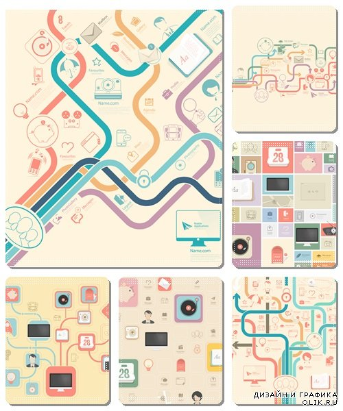 Flat vintage infographics elements - vector stock