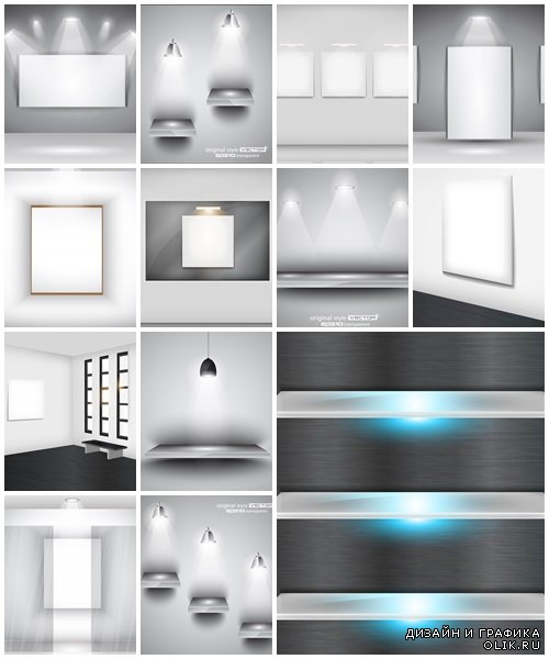 Glass shelf with light background - vector stock