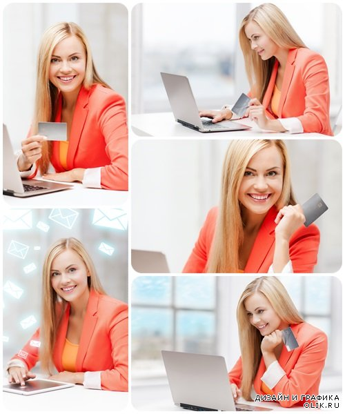 Happy teenage girl with laptop and credit card - Stock Photo