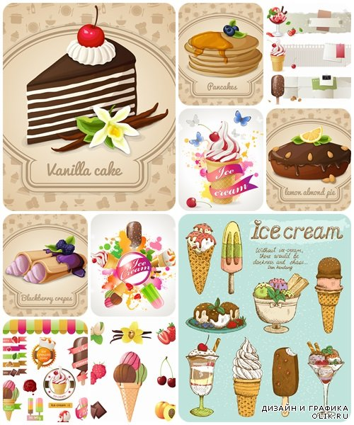 Ice-cream and pie - vector stock