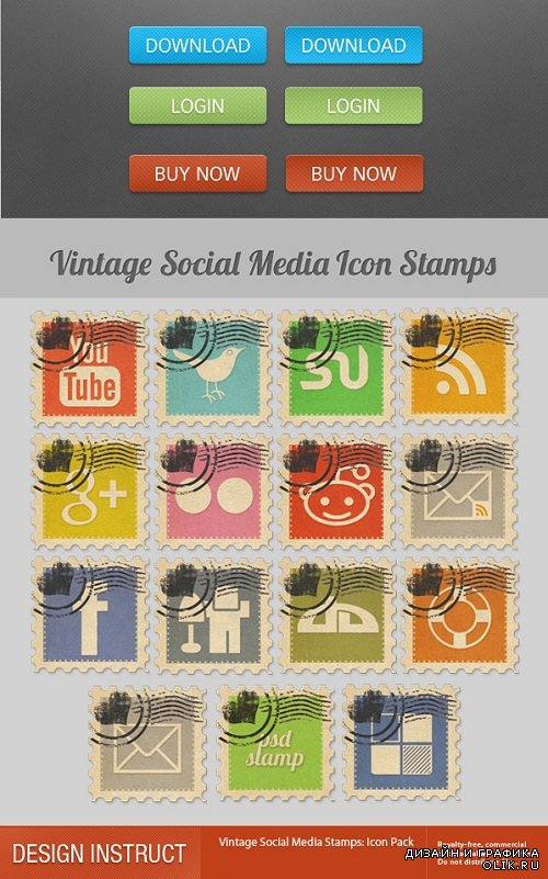 Graphics - Web Buttons and Vintage Social Media