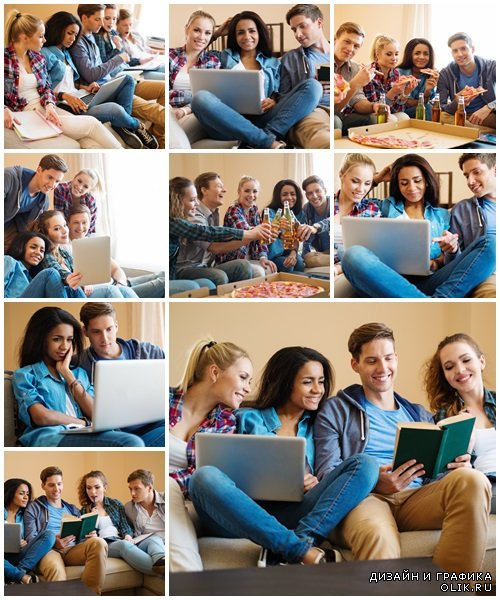 Group of young students in home interior - Stock Photo