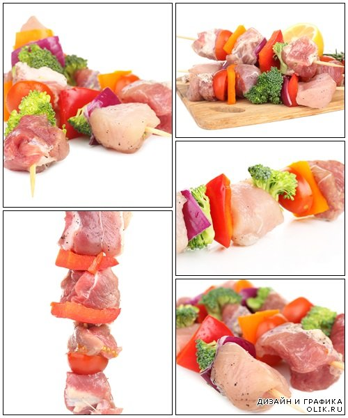 Raw pork kebab isolated on white - Stock Photo