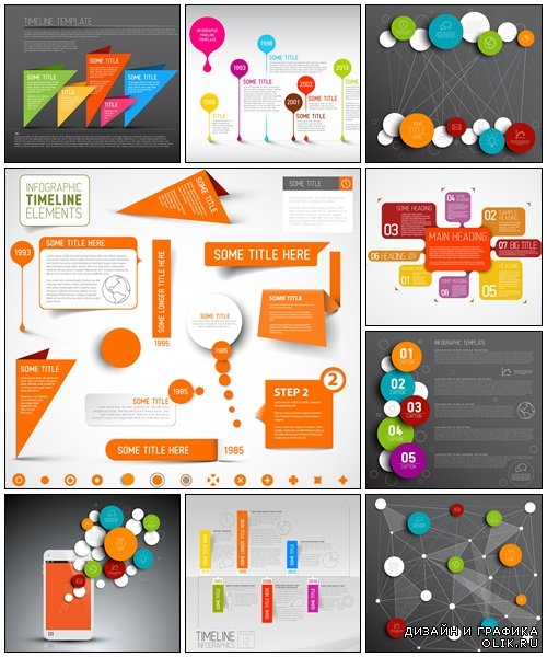 Vector abstract circles infographic template with phone - vector stock